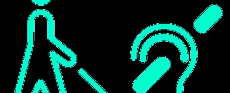 Simboli di cecità e sordità affiancati